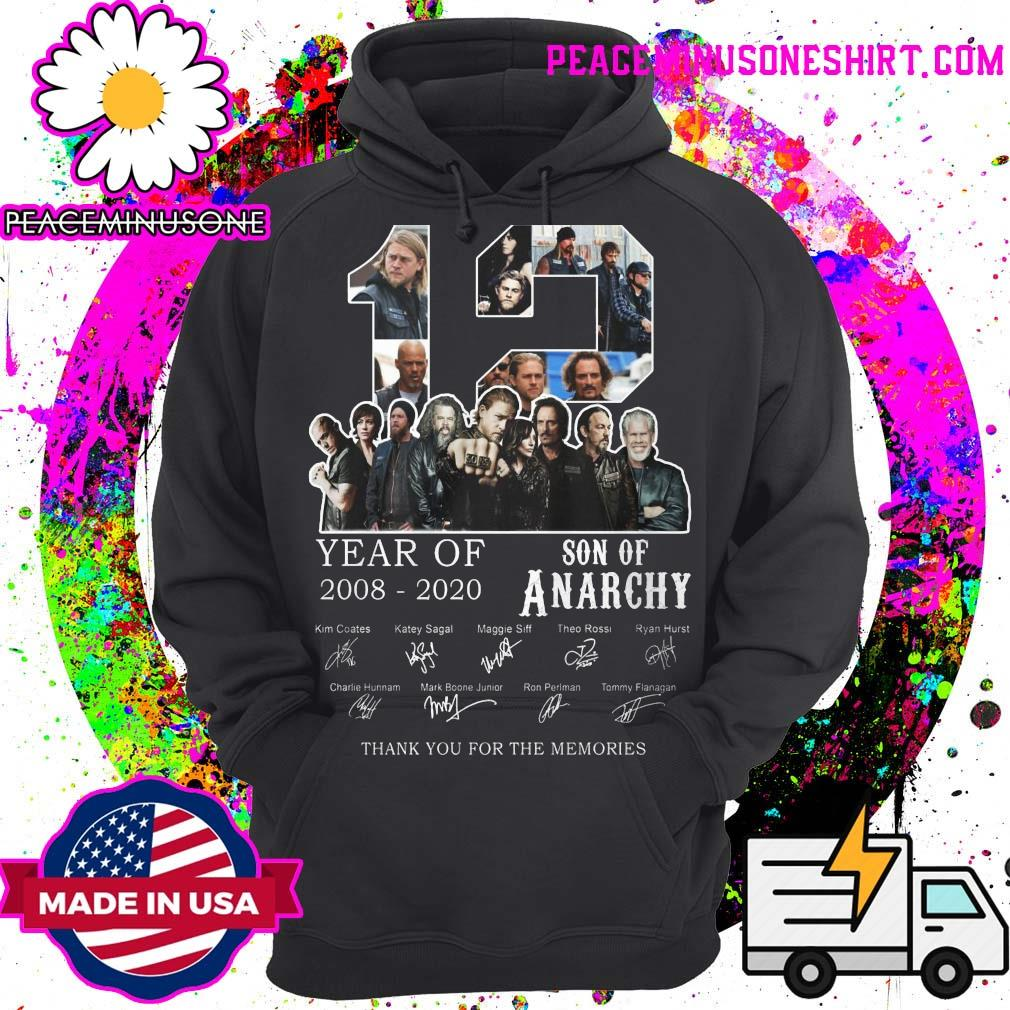 12 year of Son Of Anarchy 2008 2020 signatures thank you for the memories s Hoodie