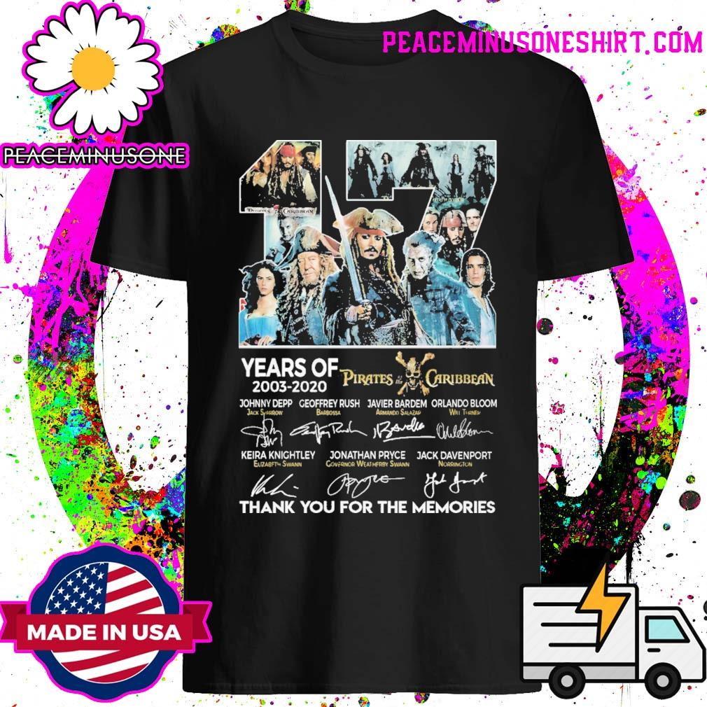17 years of Pirates of the Caribbean signatures thank you for the memories shirt