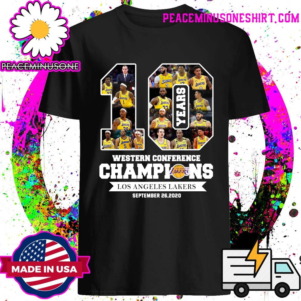 10 Years Western Conference Champions Los Angeles Lakers September 26 2020 Shirt