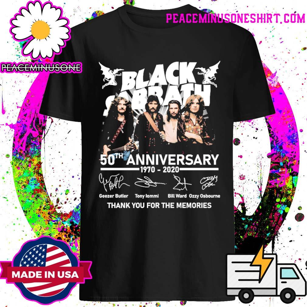 Official Black Sabbath 50th anniversary 1970 2020 signatures thank you for the memories shirt