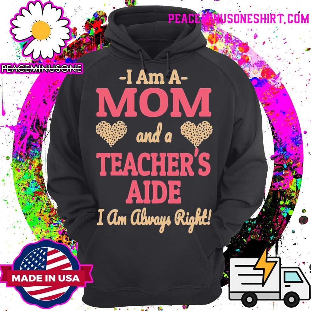 Official mom teachers aide leopard print hearts s Hoodie