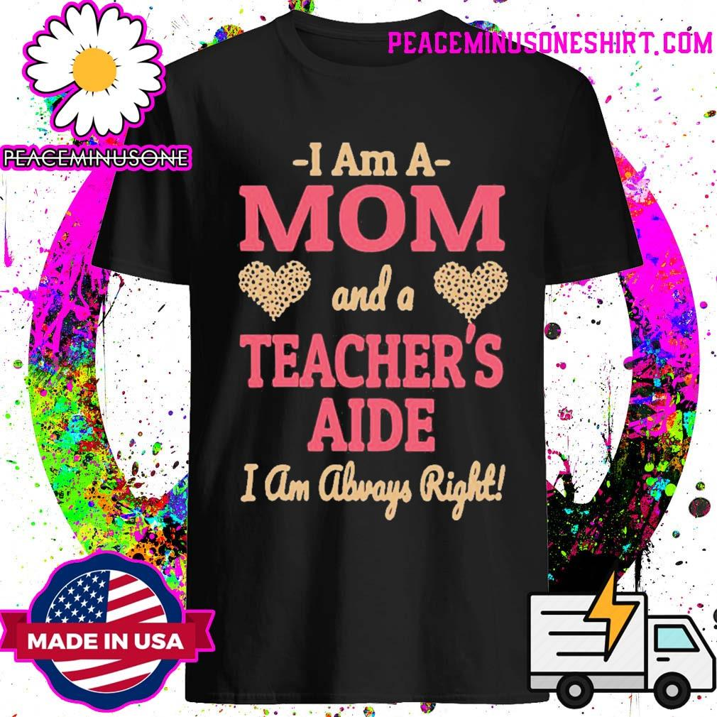 Official mom teachers aide leopard print hearts shirt