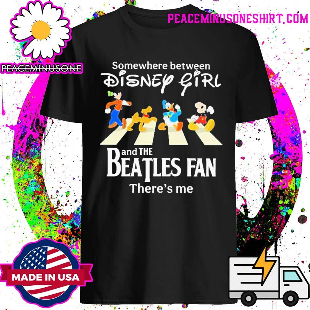 Somewhere between disney girl abbey road and the beatles fan there's me shirt