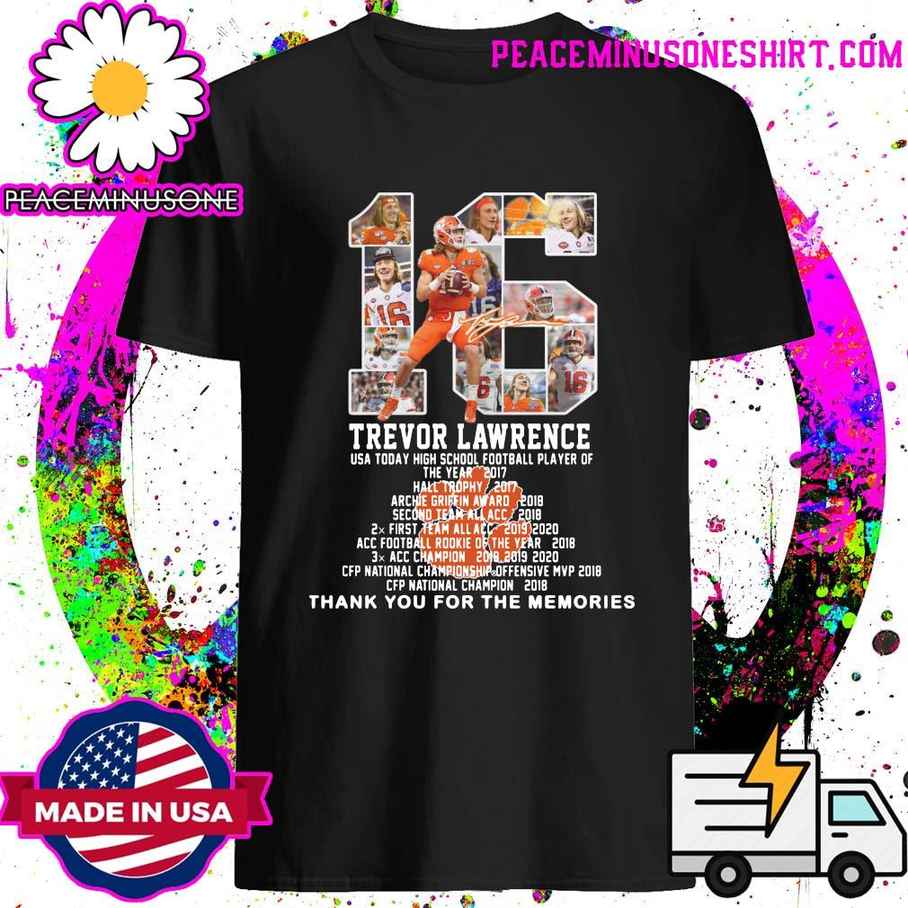 16 Trevor Lawrence Thank You For The Memories Clemson Tigers Football Shirt