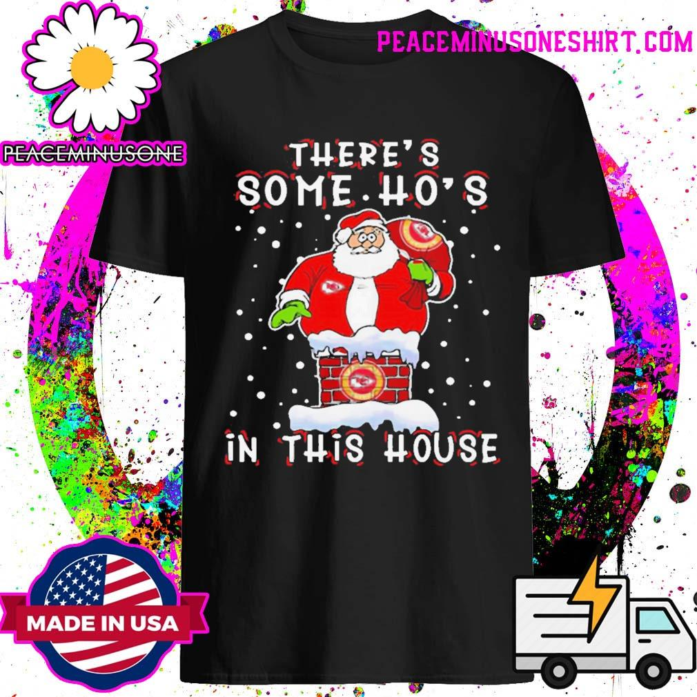 Kansas city chiefs christmas there is some hos in this house santa stuck in the chimney nfl youth shirt