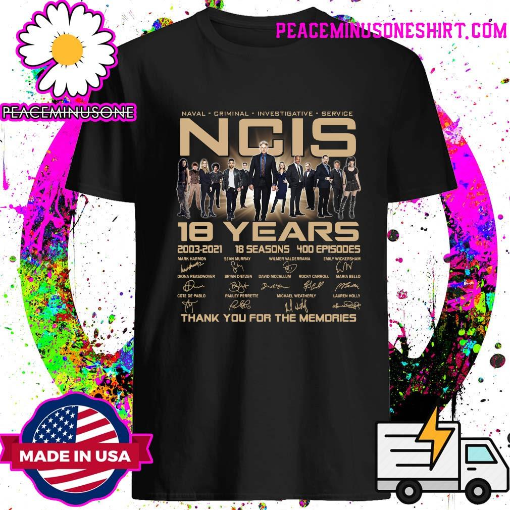 Ncis 18 Years 2003 2021 18 Seasons 400 Episodes Thank You For The Memories Signatures Shirt