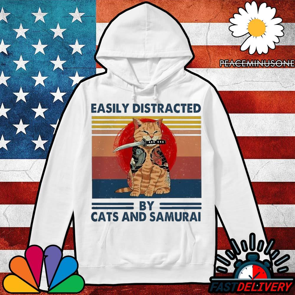 Official easily distracted by cats and samurai vintage s Hoodie