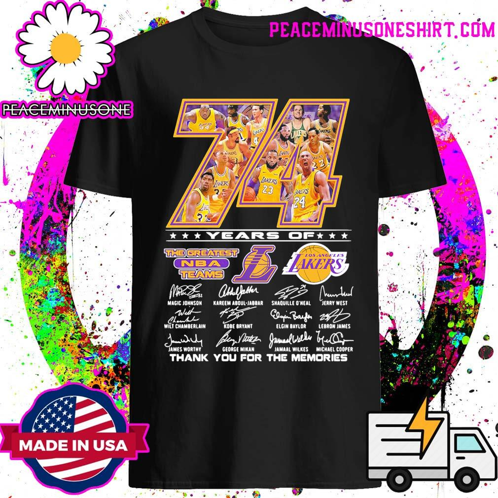 74 years of The Greatest NBA teams Los Angeles signatures thank you for the memories shirt