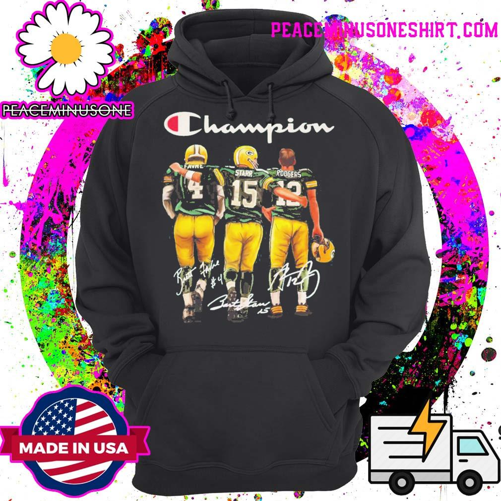 Green Bay Packers Champion Favre Starr Rodgers signatures s Hoodie