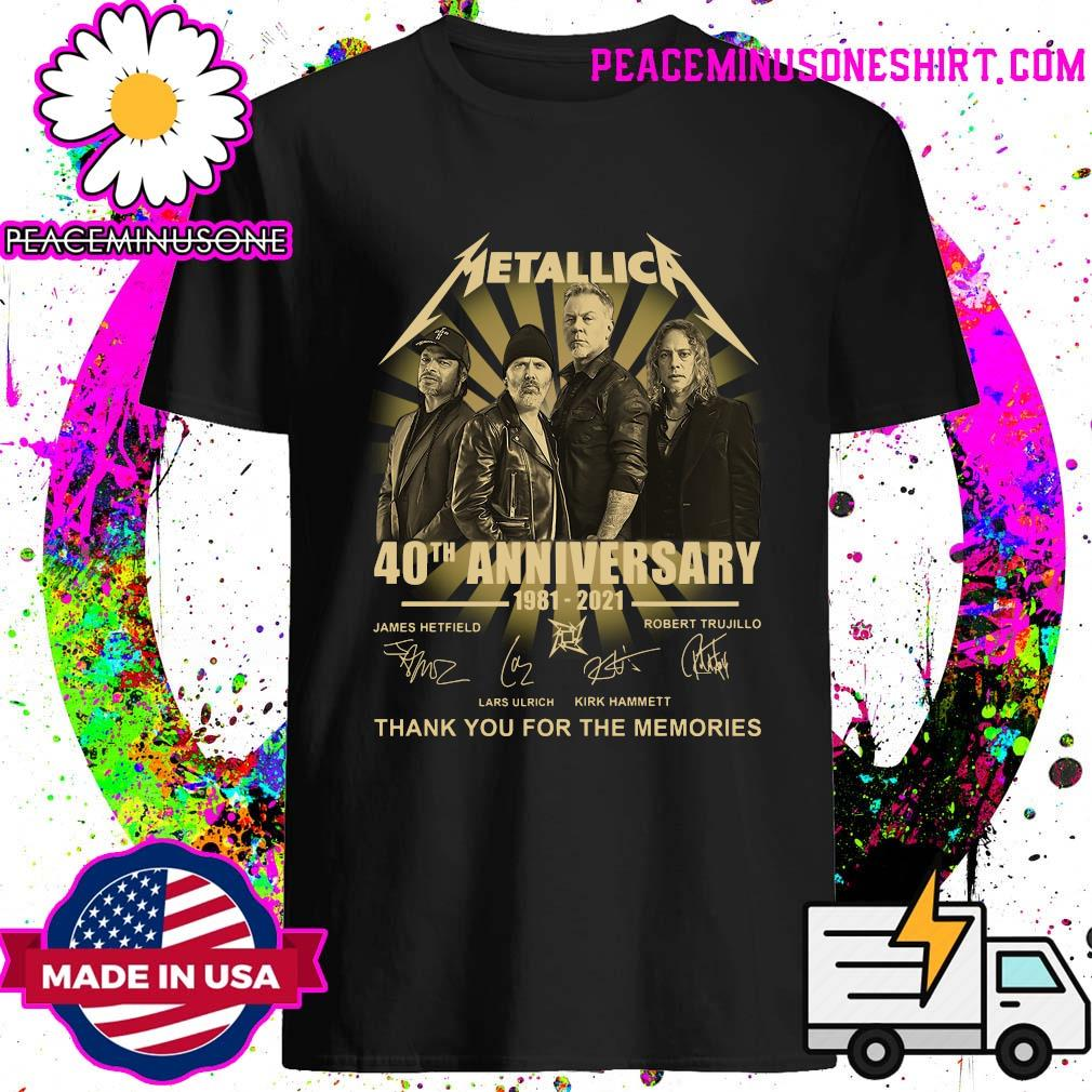 Metallica 40th Anniversary 1981 2021 Thank You For The Memories Signatures T-Shirt