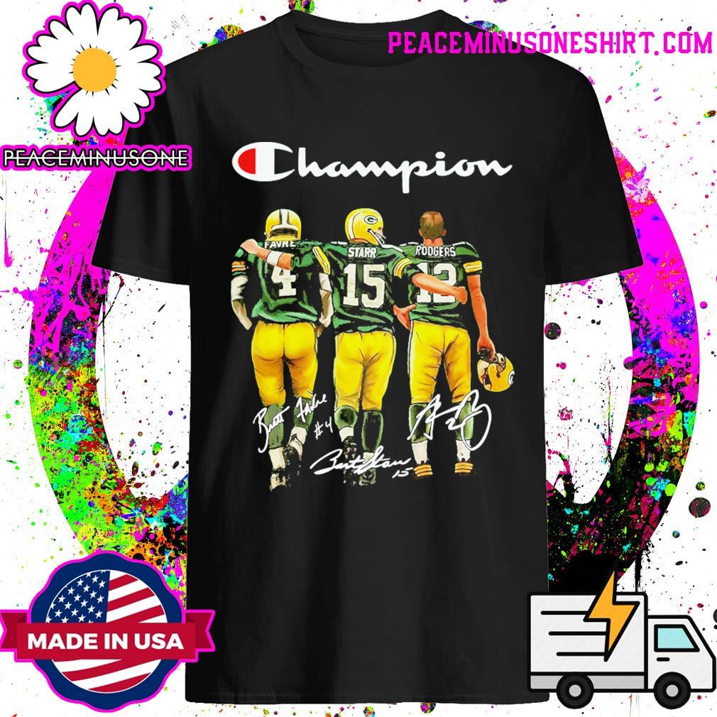 Official Green Bay Packers Champion Favre Starr Rodgers signatures shirt