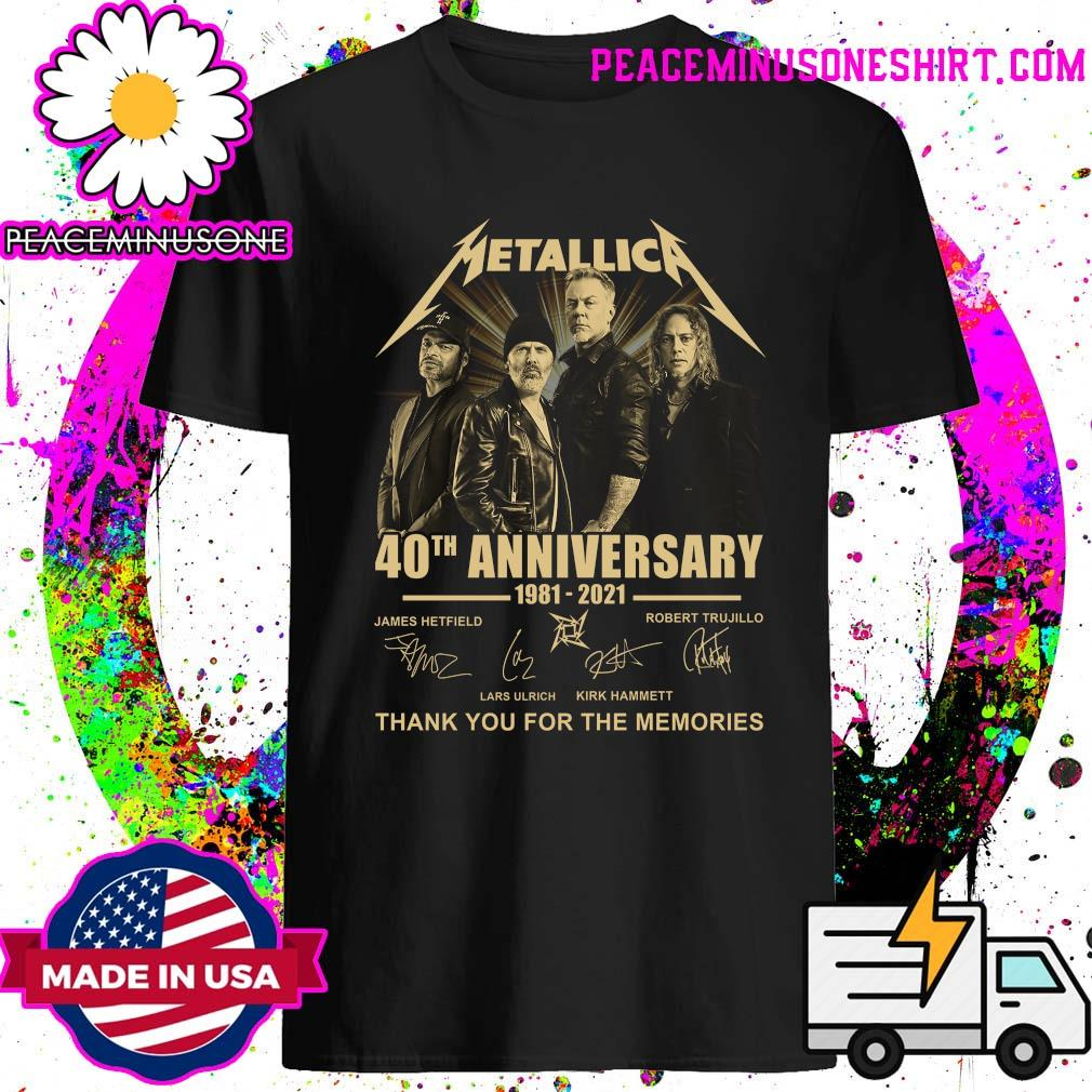Official Metallica 40th Anniversary 1981 2021 signatures thank you for the memories shirt