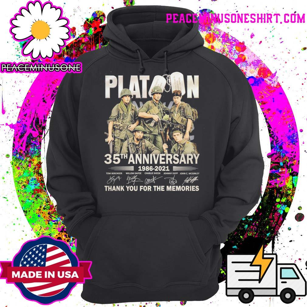 Platoon 35th Anniversary 1986 2021 signatures thank you for the memories s Hoodie