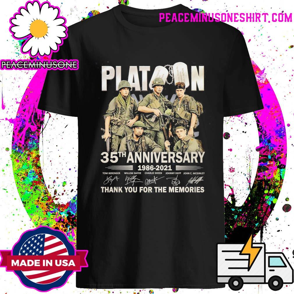Platoon 35th Anniversary 1986 2021 signatures thank you for the memories shirt