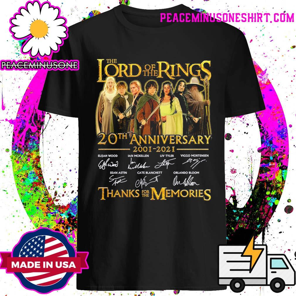 The Lord of the Rings 20th anniversary 2001 2021 signatures thanks for the memories shirt